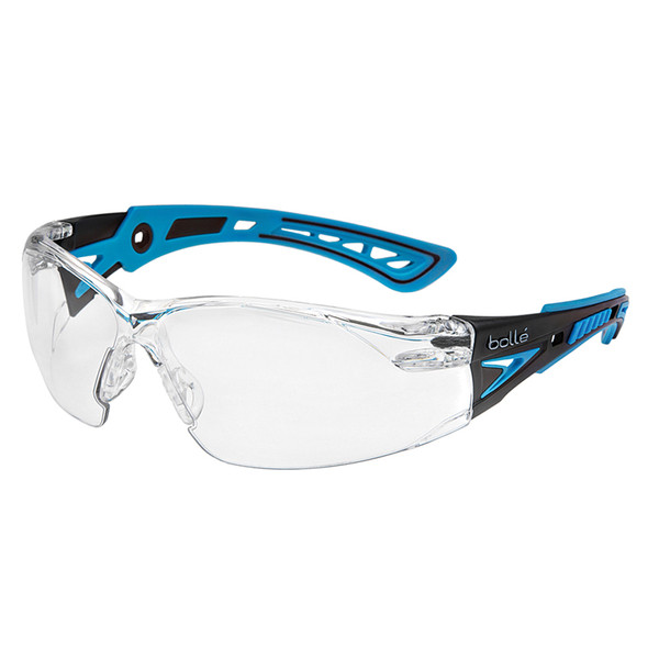 Bollé Safety Rush+ Safety Glasses Clear Lens Blue Arms