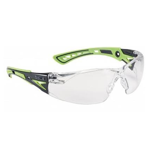 Bollé Safety Rush+ Safety Glasses Clear Lens Green Arms