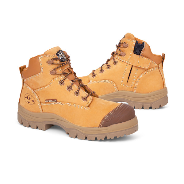 Oliver Water Resistant Leather 130mm Zip Sided Hiker Safety Boot - Wheat