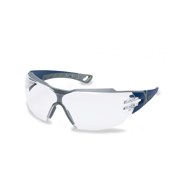 Uvex Pheos CX2 Safety Glasses Clear Lens Blue/Grey Arms Supravision Sapphire
